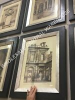 SIX HOME WALL DECOR VINTAGE PARIS SCENE PRINTS FRAMED WALL ART PICTURES