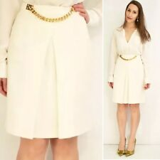 Sophie Hulme Cream 60s Style Box Pleat Skirt With Gold Chain AU 8 US 6 Eu 38