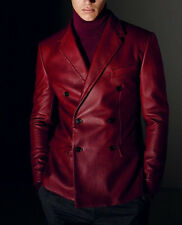 Designer Double Breasted Style Soft Lambskin Leather Blazer For Dashing Men KB12