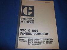 Cat Caterpillar 950 966 Wheel Loader Lubrication & Maintenance Book Manual