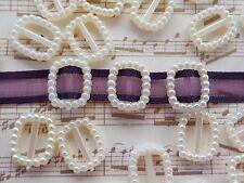 100! Pearl Ribbon Buckles Sliders -  Pearl Ivory Cream - Buckle Embellishments!