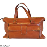 Vintage 70s BOHO Leather Carry On  Luggage Weekend Travel Overnight Bag READ