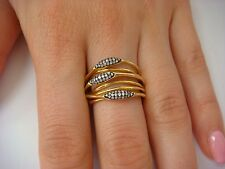 18K YELLOW GOLD MULTI ROW ROLLING RING WITH PAVE DIAMONDS 7.7 GRAMS