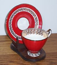 ELIZABETHAN FINE BONE CHINA BY TAYLOR AND KENT  RED AND GOLD  CUP AND SAUCER
