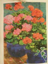Red & Hot Pink Geraniums in Blue Flower Pots, Summer decorative Garden flag
