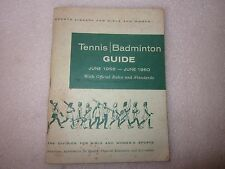 1958-1960 AAHPER Tennis Badminton Guide Sports Library for Girls and Women