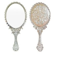 Antique Oval Flower Embossed Hand held Mirror Cosmetic Purse Makeup Silver Large