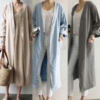 ZANZEA Womens Autumn Oversized Open Front Long Tops Coat Jacket Cardigan Outwear