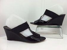AGL Attilio Gusto Leombruni Wedge Heels Size 41 10.5 -11 Black Patent T-Strap