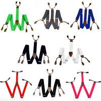 Mens Adjustable 25mm Wide Trouser Belt Suspender Elastic Button Hole Braces