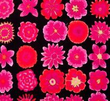 Fat Quarter Kaffe Fassett Button Flowers Black100% Cotton Quilt Patchwork Fabric