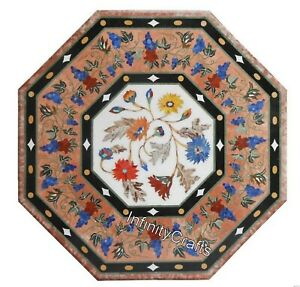 24 Inches Marble Center Table Handmade Coffee Table Top with Pietra Dura Art