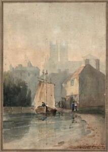 GEORGE ERNEST HOWMAN Watercolour Painting LINCOLN MORNING LANDSCAPE 19TH CENTURY