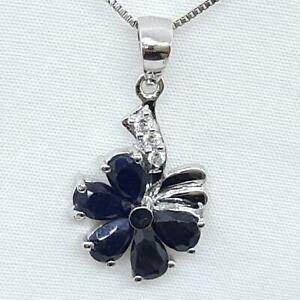 2.15ctw Kanchanaburi Sapphire & Diamond Cut White Sapphire 925 Silver Pendant