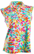 NWT Ladies IBKUL ICIKULS FLOWERSPLASH MULTI Sleeveless Golf Shirt - size L