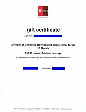 10 Pin Bowling Lounge, Chicago IL. Gift Certificate for 2 Hours & $50 in Food