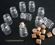 10 clear glass bottles vials ridged neck w corks 22x15mm  beads liquids cr007