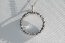Open Circle Diamond Pendant Necklace Woman's Jewelry in 10K White Gold 0.20 Ctw.