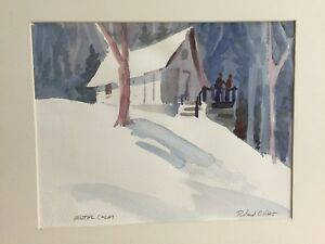 """Roland Haas Original Watercolor Unframed Painting """"Winter Calm"""", Signed, Matted"""