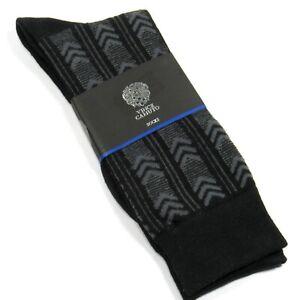 VINCE CAMUTO Men's Dress Socks Art Deco Pattern Black One Size
