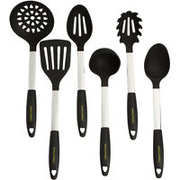 Stainless Steel & Silicone Cooking Utensil Set Kitchen Ladle Slotted Pasta Spoon