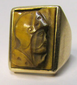"Antique 14K Gold TIGER'S EYE Roman Soldier Cameo ~ ""Per Sempre ""  Forever Ring"