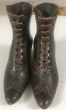 "5"" Tall Antique Bronze Victorian Ladies Pair Of Shoe's Leather Laces & Heels"