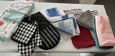 Bulk Lot 18 Pieces -Kitchen Towels, Dish Drying Mat Set, Oven Mits etc - New