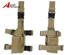 Airsoft Tactical Hunting Pistol Gun Drop Leg Thigh Right Hand Holster Pouch Tan