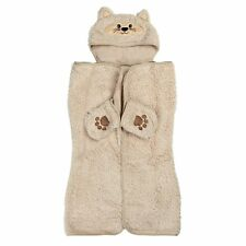 Silver One Cozy Critters Kids Animal Face Sherpa Throw Hooded Cape w/ Pocket NWT