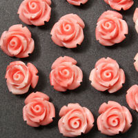 10mm 15Pcs Pink Shell Carved Rose Flower Loose Beads Gemstone DIY Jewelry Craft