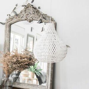 New Ivory & Deene Large Byron Pendant Light White Rope Pear Shape Hanging Lamp