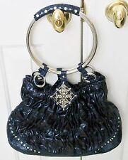 Studded & Embellished Medium Blue BABEED Handbag with Ring Handles, 7 in. drop