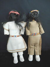 Vintage Indian Apple Core Dolls Beads Pair Hand sewn Native American Bead Work