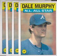 1986 TOPPS BASEBALL LOT (4) DALE MURPHY #705 BRAVES NMMT/MINT *L2050