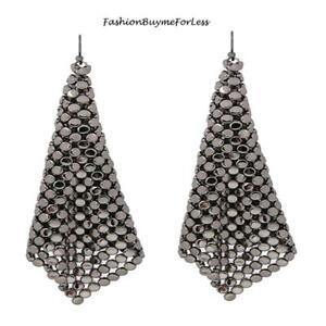 Women Retro Jewelry Square Net Mesh Hematite Chainmail Sheets Dangling Earrings