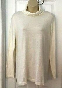 Talbots Womens Sweater Size Large Turtleneck Lightweight Tunic Style Cream New