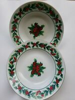 Gibson set of 5 Soup Bowls In The Christmas Holly & Berries Pattern gold trim