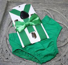 1st Birthday boy cake smash diaper cover bow tie Suspenders st patricks day