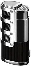 Black Cigar Lighter Triple 3 Flame Refillable w/ Bullet Cutter The Supernova