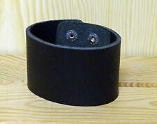 Lederarmband breit 50 x 240 x 3 schwarz Druckknopfverschluß