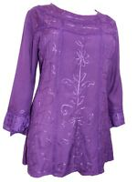 Eaonplus ladies tunic top blouse plus size 18 20 22 24 purple gothic embroidered