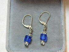 Cobalt Blue Glass Cube Bead Sterling Silver Lever Dangle Earrings 11e 4