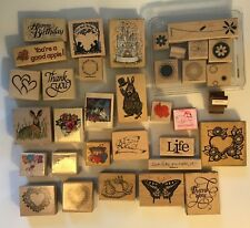 Wooden Rubber Stamps - New & Used, 36 Piece Lot!