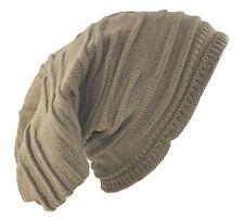 "D&Y Men's Long Beanie Stripe Textured Knit Hat 12"" Brown"