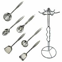 Set Of 7 Piece Kitchen Cooking Tools Utensils with Stand Spoon Skimmer Turner