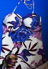 Next Floral Tankini Set 32D u/w halter briefs Size 6 white purple New Tags BNWT