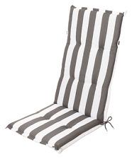 Stuhlauflage Hochlehner Gartenstuhlauflage Sitzauflage Blockstreifen grau weiß
