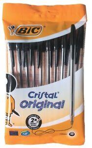 BIC CRISTAL ORIGINAL - PACK OF 10 BLACK BALLPOINT PENS - NEW