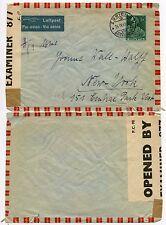 BERMUDA CENSOR 1942 SWITZERLAND to USA AIRMAIL IC 877